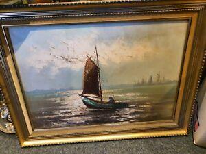 Gemälde Öl auf Leinwand Maler Huth Maritim Segelboot Hafen Ölbild 50 x 70 cm