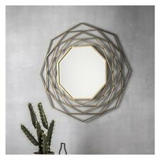 "Estella Round Geometric Unique Design Gold Wall Overmantle Metal Mirror 36"""
