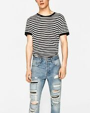 Zara Ripped, carrot fit jeans with studs  W31 100% cotton