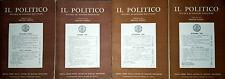 IL POLITICO RIVISTA DI SCIENZE POLITICHE DIRETTA DA BRUNO LEONI ANNO XXV 1960 4V
