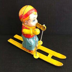 J Chein Toy Ski Boy #157 Skier Tin Litho Wind Up Working Condition (See Video)