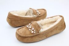 UGG ANSLEY BRILLIANT BOW SWAROVSKI SHEEPSKIN CHESTNUT SLIPPERS SIZE 10 US
