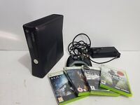 Xbox 360 S 250gb Black Console Slim with Controller + Games Bundle