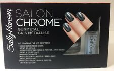 (New) Sally Hansen Salon Chrome 5PC Kit Miracle Gel Nail Polish - Gunmetal