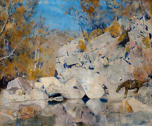 Tom Roberts, In a corner on the Macintyre, 1895 Fade Proof HD Art Print / Canvas