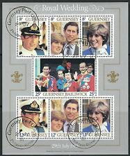 Guernsey - Hochzeit Charles und Diana Block 3 gestempelt 1981 Mi. 225-231
