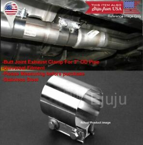 """Stainless Butt Joint Exhaust Clamp Sleeve Band For VW Porsche 3"""" Exhaust Pipe"""