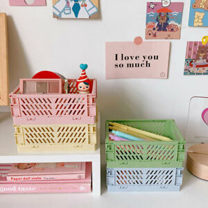 Collapsible Crate Plastic Folding Storage Basket Cosmetic Utility DIY Install CA