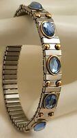 Adjustable Silver bracelet Blue Topaz Bangle Granny Grandma Grandmother Jewelry