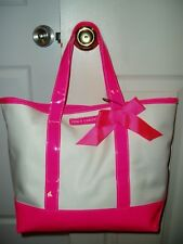 """""""JUICY COUTURE TOTE BAG SAC"""", Hot Pink Trim Bottom & Ribbon Bow White Sides"""