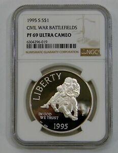 1995 S - Civil War Battlefields Proof Commemorative Silver Dollar - NGC PF 69 UC