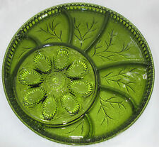 Indiana Glass Green Deviled Eggs & Divided Serving Appetizer Party Platter