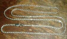 "Beautiful 24"" Diamond Cut Rope style Sterling Silver CHAIN marked 925 Italy"