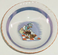 Walt Disney Productions Donald Duck Bowl Cereal Soup Vintage 1940s 1950s Ceramic