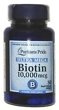 Ultra Mega Biotin 10,000 mcg 50 Softgels Hair Skin Nail Care Capsules Pill 10000
