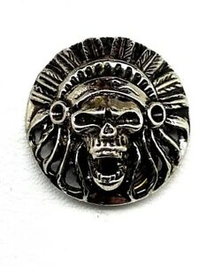 Screaming Chief skull concho snap Gothic biker solid belt wallet screw silver