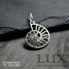 1 x Sterling Silver Ammonite Fossil Shell Pendant CZ Charm Jewellery Making Gift