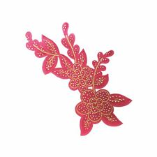 Pink Base Petal Flower (Iron On) Embroidery Applique Patch Sew Iron Badge