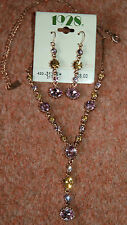 New 1928 Lilac & Amber Pendant on copper/Gold coloured Necklace & Earrings Set