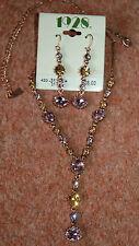 Nuevo 1928 Lila & Ámbar Colgante Collar De Color Oro En Cobre/& Aretes