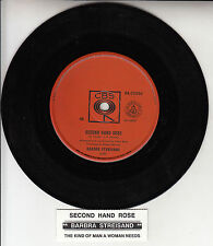 "BARBRA STREISAND  Second Hand Rose 7"" 45 rpm vinyl record + juke box title strip"