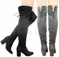 Ladies Womens Thigh High Over The Knee Boots Stretch Lace Up Mid Heel Shoes Size