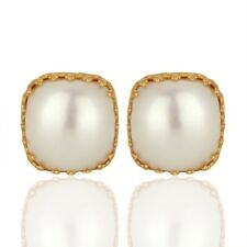 Natural Pearl 18K Gold Plated 925 Sterling Silver Stud Earrings Gemstone Jewelry