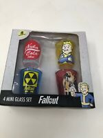 Rare FALLOUT Whiskey Shot Glass Set of 4 / New in Box - Colorized 2-oz.