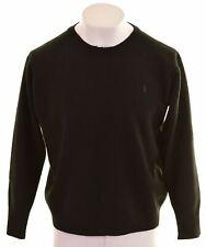 POLO RALPH LAUREN Mens Crew Neck Jumper Sweater XL Black Lambswool  GL28