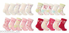 Baby Elle - White Pink Patterned socks for girls, (Pack of 5 pairs) All sizes