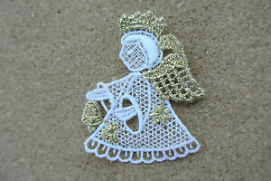 Christmas - Angel - sew-on lace motif/applique/patch/craft/card making