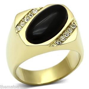 GOLD BLACK MENS GENUINE ONYX RING ALL SIZES 8 9 10 11 12 13