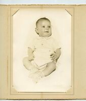 Antique Photo In Folder - Cute Young Baby, W/ Booties - Dark Hair & Eyes, Smile