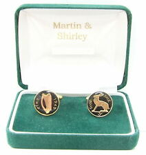 1949 Ireland cufflinks Old Irish 3D coins in Black & Gold