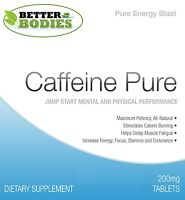 Pure Caffeine Tablets HIGH Strength Energy Boost Slimming Better Bodies