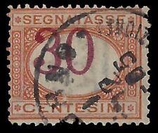 REGNO D'ITALIA 1890 - SEGNATASSE 30 c. n.23c VARIETA' USATO Cert. DIENA