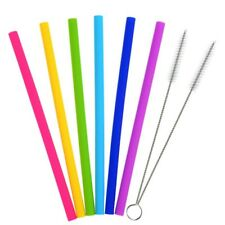 6Pcs Silicone Drinking Straws Kit 10'' Reusable Replacement Straw 2 Brushes US