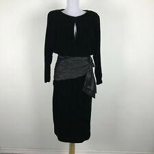 Vintage 1980s Party Dress Size M L Black Silk Velvet Prom Cocktail Bow Accent
