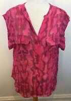 WITCHERY Musk Pink Brown Swirl Collarless Cap Sleeve Tunic Hi Lo Hem Blouse 16