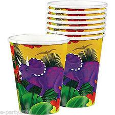DINOSAUR PREHISTORIC PARTY 9oz PAPER CUPS (8) ~ Birthday Supplies Beverage Drink
