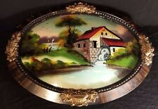 ANTIQUE ESTATE REVERSE GLASS FRAMED PAINTING EBONISED OVAL CONCAVE WATERMILL