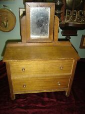 Vintage Childs Walnut Toy Dresser with two drawers and a mirror.  7728