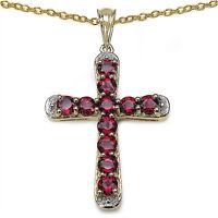 Rhodolith Kreuz Anhänger Mit Kette 925er Silber Vergoldet Unikatschmuck - Neu