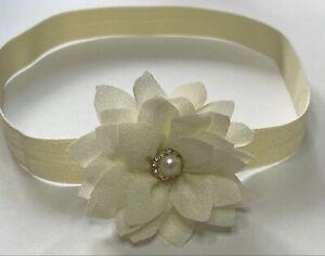 Baby Girls Headband  Cream  Ivory Small Flower Wedding Christenings All Sizes