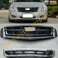 For Cadillac XTS 2013-2017 2PCS Chrome Front Bumper (Upper+Lower) Grille j Grill