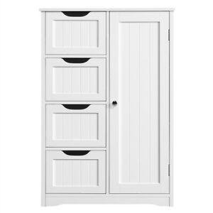 Bathroom Floor Cabinet Wooden Free Standing Storage Organizer w/ 4 Drawers White