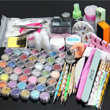 48 Acrylic Powder Liquid Nail Art Care kit UV Gel Glitter Brush Clipper Tips SET