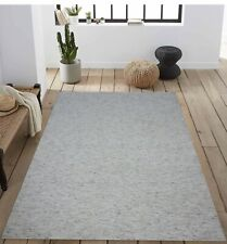 5'6 x 8' Rug | Hand Made  Hand Woven Wool White Gray Area Rug