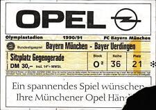 Ticket BL 90/91 FC Bayern München - Bayer Uerdingen, Sitzplatz Gegengerade