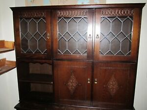 70's? Old Charm style Wall Unit Display Cabinet Tudor Dark Oak SOLID QUALITY